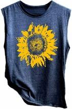 LOTUCY Sunflower Tank Tops Women Sunflower Print Vest Sleeveless T-Shirt... - $32.13+