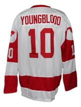 Custom Name # Youngblood Movie Hamilton Mustangs Hockey Jersey White Any Size image 2