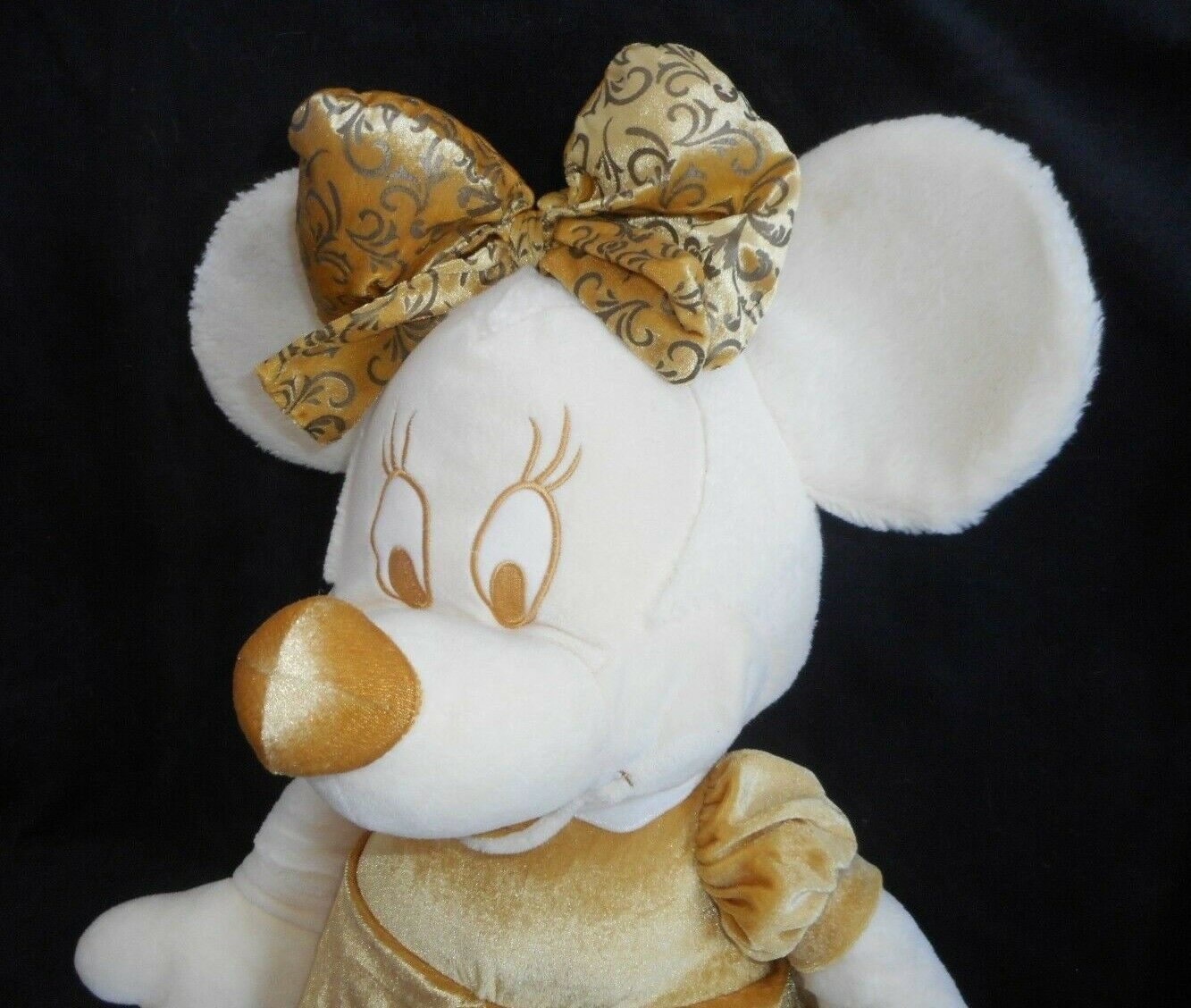 "28"" BIG DISNEY STORE GOLD & CREAM MINNIE MOUSE STUFFED ANIMAL PLUSH TOY DOLL image 3"
