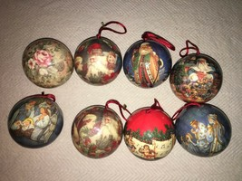 Various Religious, Santa and Flora Themed Christmas Ornaments - Lot of 8 - $1.96