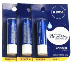 3 Nivea All Day Nourishing Moisture Lip CareShea Butter  Mineral Oil Fre... - $17.99