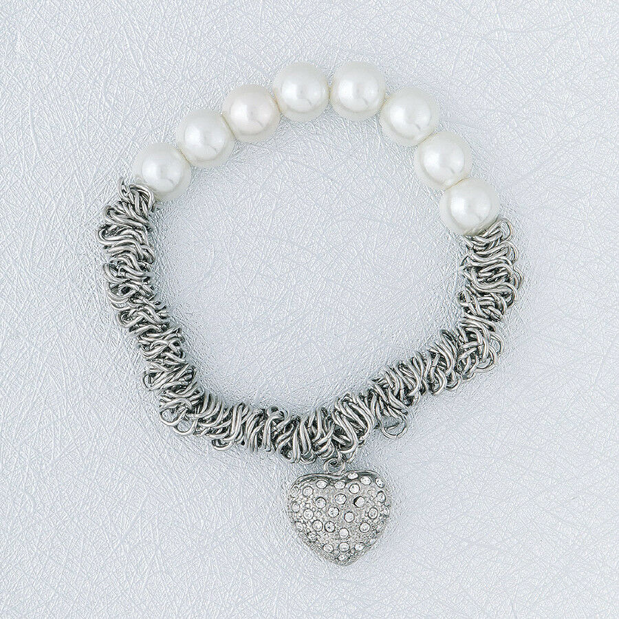 Primary image for Pearl and Chain with Heart Charm Bracelet Sterling Silver NEW