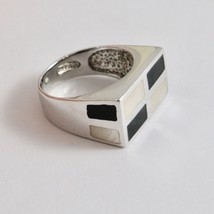 925 Silver Ring with Nacre White Rectangular Enamel & image 2