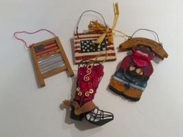 Christmas ornaments lot American Decorations I LOVE A COWBOY Flag Boot O... - $15.00