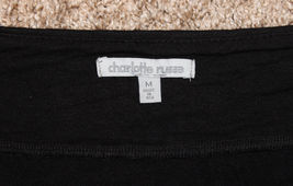 CHARLOTTE RUSSE BLACK OFF SHOULDER FITTED RUCHED TOP LEATHER CLEOPATRA NECK M S image 7