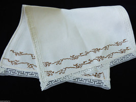 "VTG Hand crafted linen Table runner White lace brown emproidery 24.5"" x 15"" - $23.76"