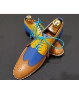 Bespoke Men's Multi Color Brogue Toe Wing Tip Sole Leather Lace Up Shoes  - $149.99+