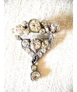 VERY VINTAGE EARLY-TO-MID CENTURY MULTIPLE SIZE WHITE RHINESTONE STUDDED... - $14.99