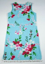 NEW BOUTIQUE TRISH SCULLY GIRLS 12 DRESS TURQUOISE BLUE RED PINK ROSES P... - $21.03