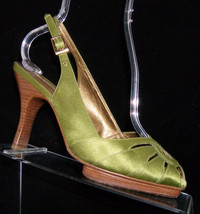 Via Spiga green square toe satin buckle slingback stacked heel shoe 8M - $21.55