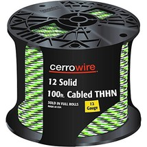 CERRO 112-161253C 100-Feet 12 Gauge Solid Cabled THHN Black, White and Green Wir