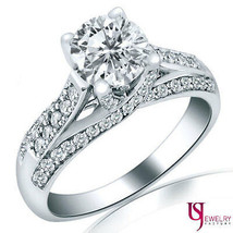 1 3/5 Ct F-VS2 Round Cut Solitaire Raised Diamond Engagement Ring 14k So... - €3.934,92 EUR