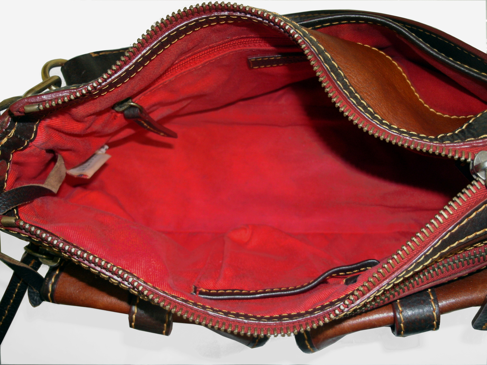 Dooney & Bourke Saddle Tan Brown Red Leather Pocket Hobo Brass Duck Charm DS455 image 10