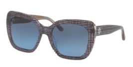 Neu Tory Burch Sonnenbrille Ty 7127 1739/8f Marineblau Kristall On Bast W/ Blau