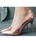 9AB018 Candy color pointy pumps,stiletto, patent leather,size 4-8.5, pink - $78.80