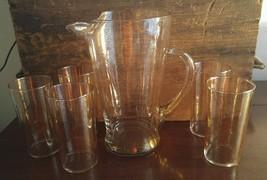 Federal Glass Mid Century Modern 6 Pc Gold Flak... - $59.99