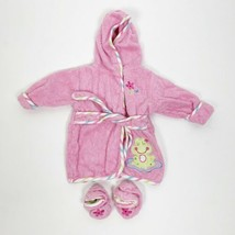 Baby Girl Robe With Slippers Set 0-9 Months Pink Frog Tie Waist Pink Hooded - $8.78