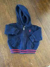 Ralph Lauren Baby Heavy-duty Zip Up Hoodie Logo Size 6M Red Navy - $13.85