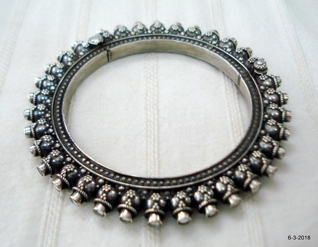 Traditional design sterling silver bangle bracelet cuff kundan jewellery