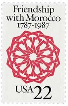 1987 US Friendship with Morocco Postage Stamp Catalog Number 2349 MNH