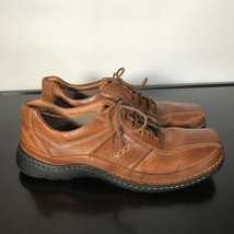 Clarks Sz 11 M, Brown Leather Casual Lace Up Fashion Oxford Sneakers Shoes - $25.74