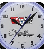 Corvette Stingray Flags Neon Wall Clock Made In USA 20 Inch Game Room O... - $346.38