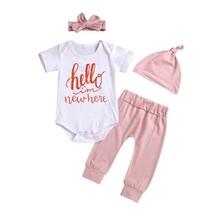 Summer Baby Girl Hat Set Casual Short Sleeve Letter Print Romper Tops Tr... - $12.39