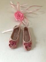 Ballet Slippers Ornament Ballerina Valentine Pink Roses Ribbon Birthday ... - $19.39