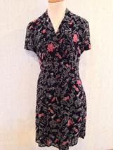 Cute Print DKNY Ms Size 6 Lined Rayon Work or Church DRESS EUC Free US Ship - $14.58