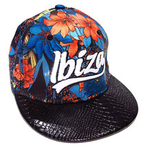 Ibiza Snapback Cap Flowers Blue Red Trucker Hat Black RARE Faux Leather - $42.12