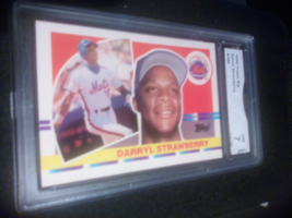 1990 Topps Big Darryl Strawberry GMA Graded 7 NM baseball card number 186 - $9.99