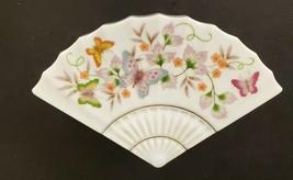 Vintage 1980 AVON Fan Shaped Butterfly Fantasy White Trinket Box Porcelain - $7.85