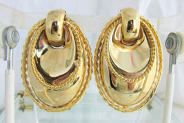 VintageDoor Knocker Earrings Clips Heavy Gold Plate Hollow Metalwork Run... - $22.50