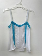 HOLLISTER Camisole TANK TOP Blouse WHITE Blue Size S Small Sheer - $13.95