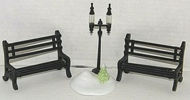 Dept 56 Double Street Lamp Post w/Snow and Tree plus 2 Park Benches - $11.43