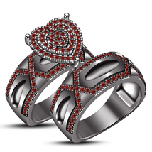 Round Red Garnet 2 Piece Engagement Wedding Ring Band Set Solid Black Go... - $106.99