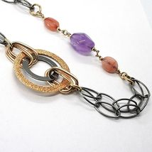 Necklace Silver 925, Burnished and Pink, Circles, Amethyst, Agate, Length 100 CM image 4