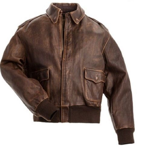 Aviator A-2 Flight Jacket Distressed Brown Real Cowhide Leather Bomber Jacket - $104.99