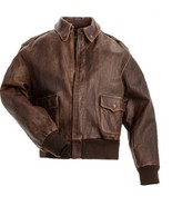 Aviator A-2 Flight Jacket Distressed Brown Real Cowhide Leather Bomber J... - $104.99