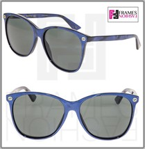 GUCCI 0024 Oversized Navy Blue Pearl Crystal Sunglasses GG0024S Women Authentic - $244.53