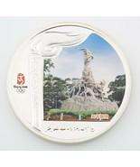 2008 Beijing China Olympiade Torch Relay Gefärbten .999 Silber Medaillon... - $103.94