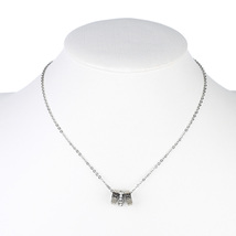 UE-Silver Tone Designer Necklace With Circle Pendants & Swarovski Style ... - $16.99