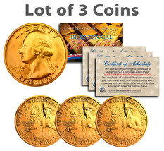 Bicentennial 1976 Quarters US Coins 24K GOLD PLATED w/Capsules & COA *Lo... - $9.46