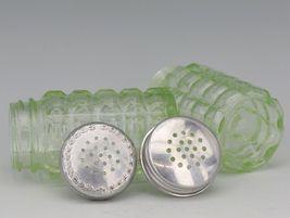 Hazel Atlas Green Depression Glass Block Salt & Pepper Shakers image 4