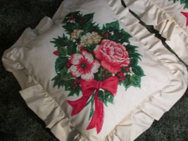 2 CHRISTMAS THROW PILLOWS beige w/bright red poionsettias hand decorated... - $23.38