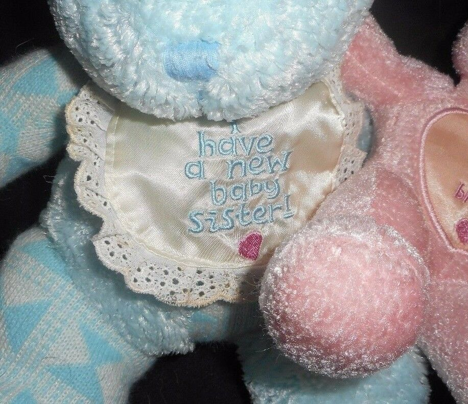 2000 ENESCO BLUE BROTHER PINK SISTER TEDDY BEAR RATTLE STUFFED ANIMAL PLUSH TOY image 3