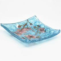 Fused Art Glass Cherry Blossom Flower Design Square Soap Dish Handmade Ecuador image 3