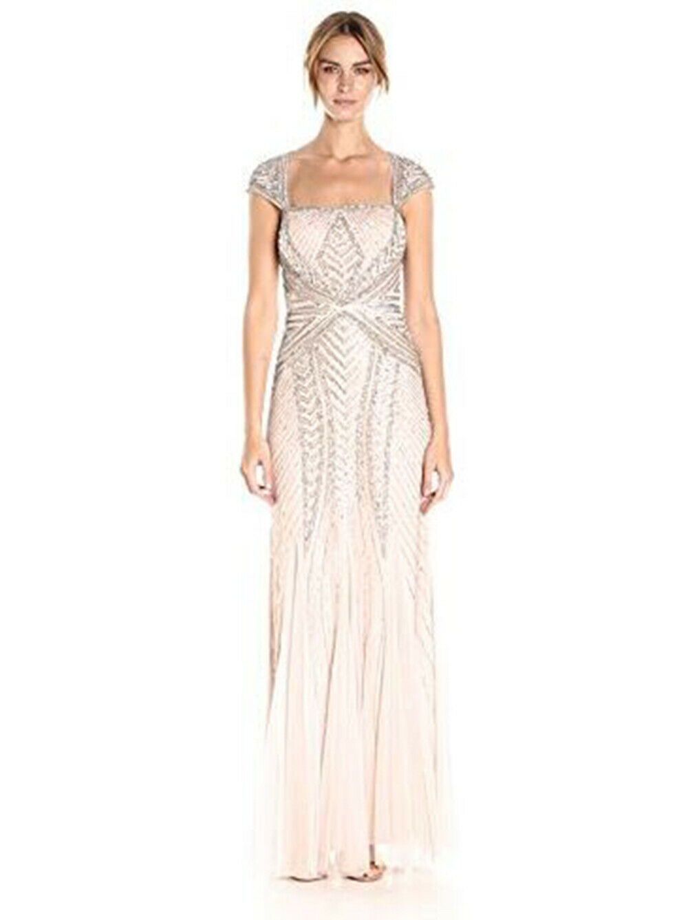 Adrianna Papell Women's Envelope Cap Sleeve Beaded Gown, Shell, 6P