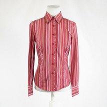 Red green uneven striped 100% cotton TOMMY HILFIGER button down blouse S - $24.99