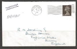 1968 Paquebot Cover, British stamp used in Pensacola, Florida - $5.00